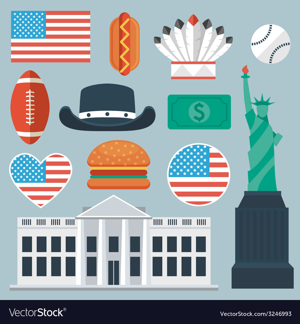 Usa flat icon set vector