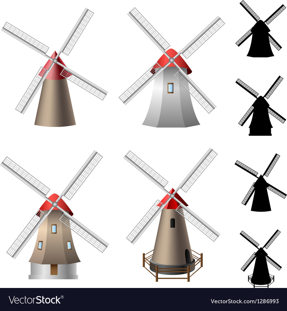 Windmill set vector