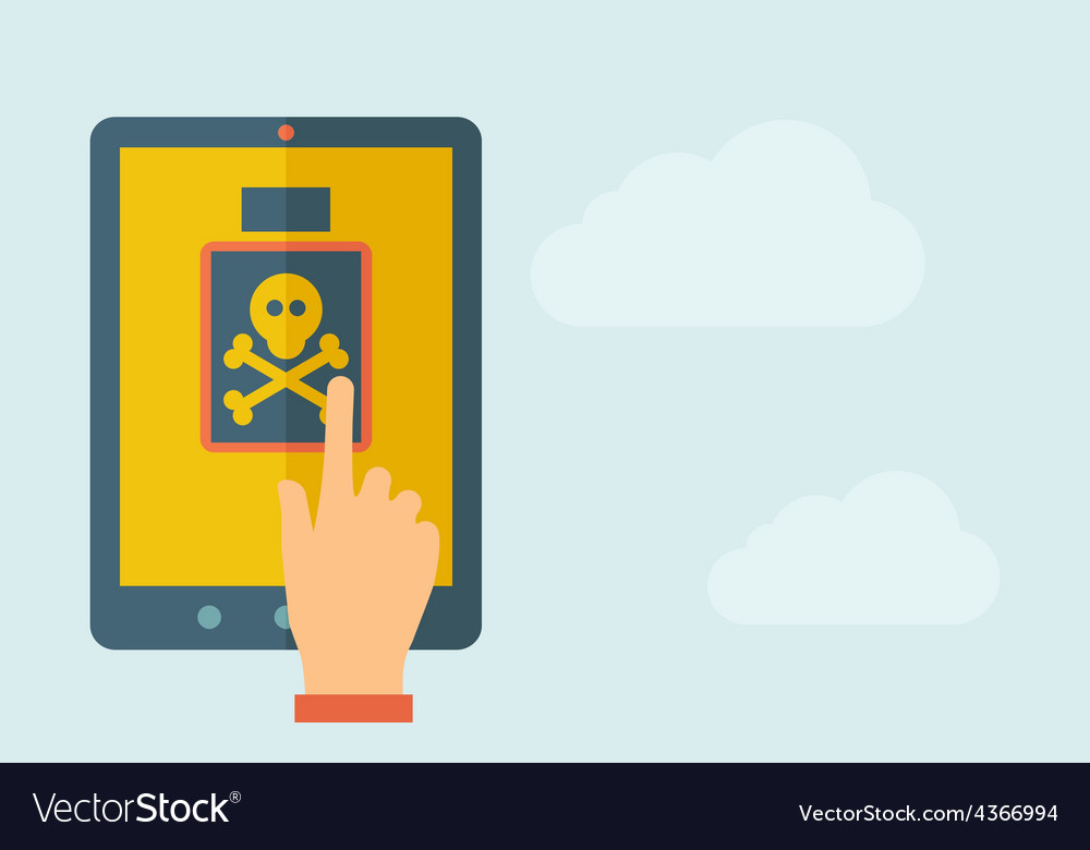 Touch screen tablet with poison bottle icon vector
