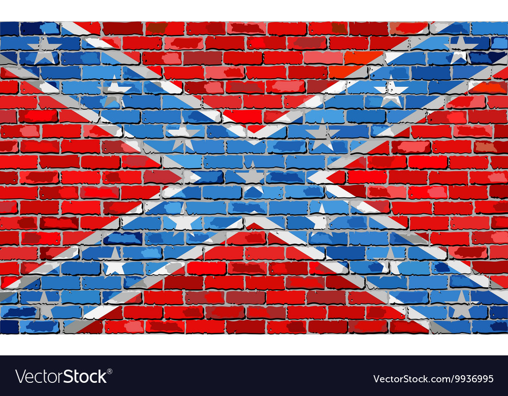 Confederate flag on a brick wall vector