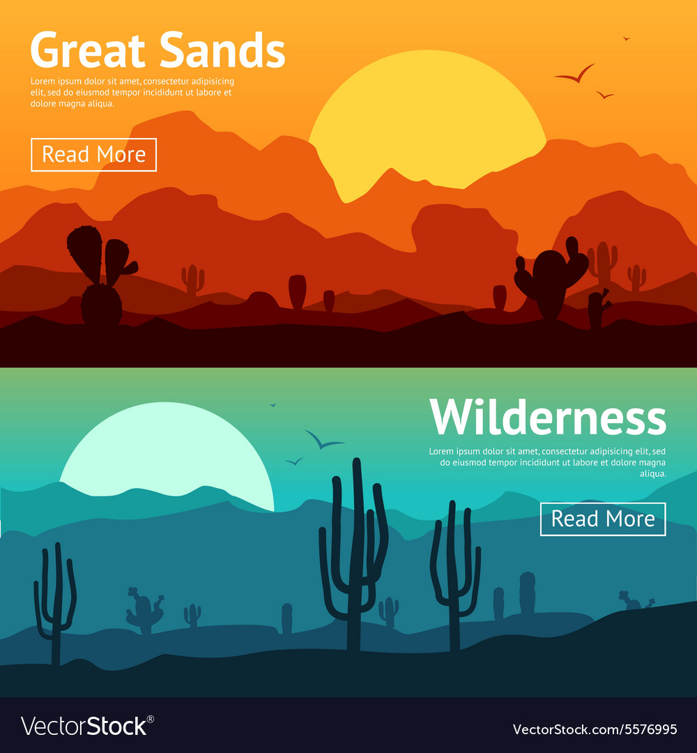 Desert banner set vector