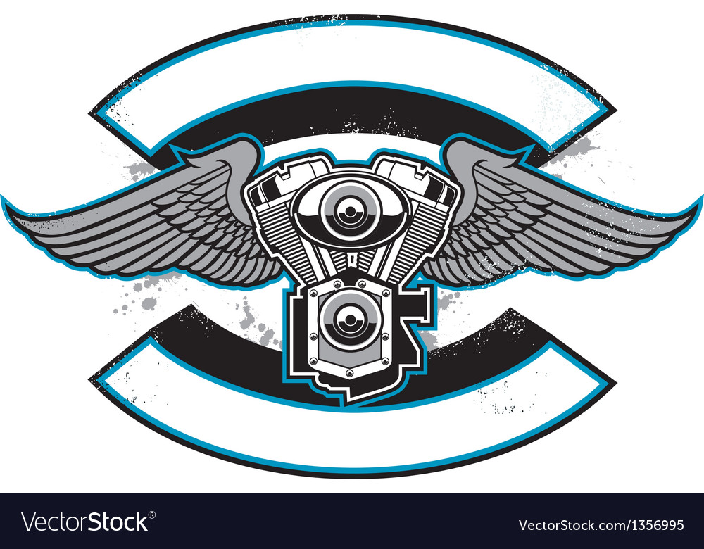Motorbike club badge with engine and wings vector