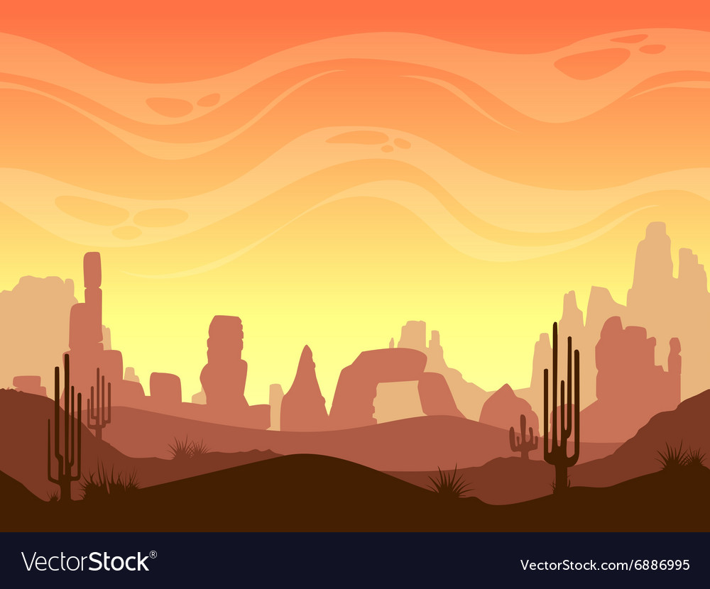 Seamless cartoon desert landscape vector