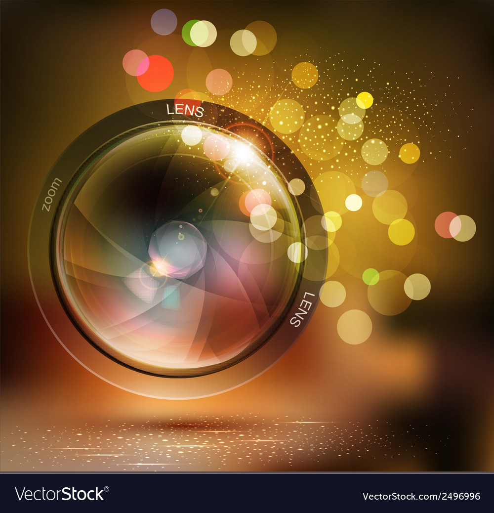 Background with photo lens and bokeh vector
