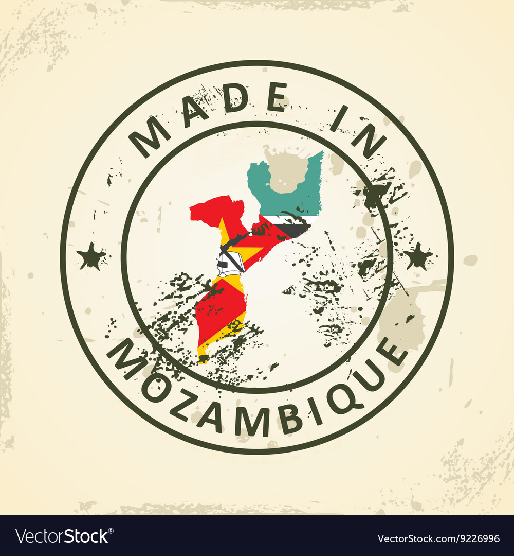 Stamp with map flag of mozambique vector