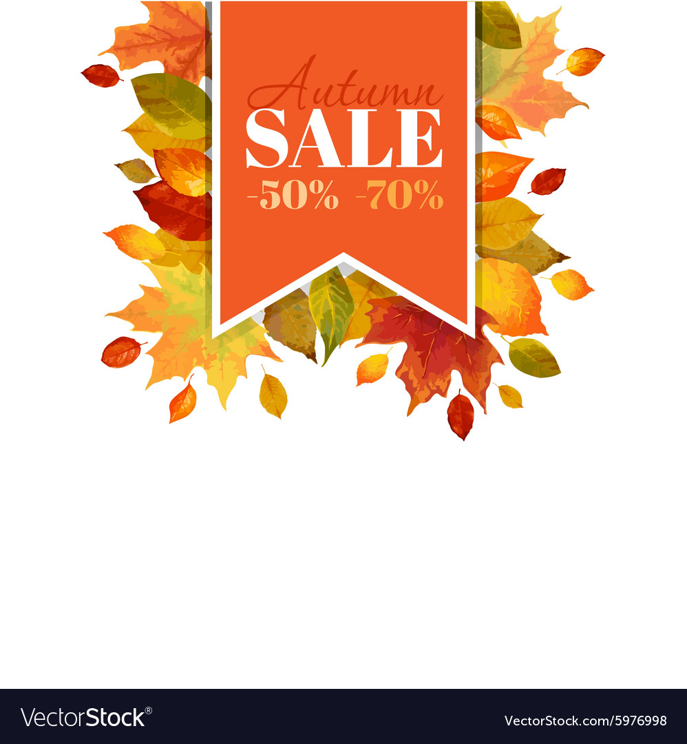 Autumn sale  colorful autumn leaves background vector