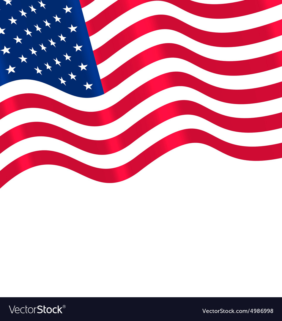Flags usa waving wind and ribbon vector