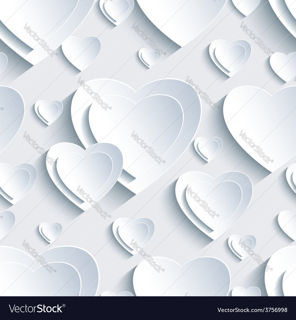 Grey seamless pattern with 3d hearts valentine day vector