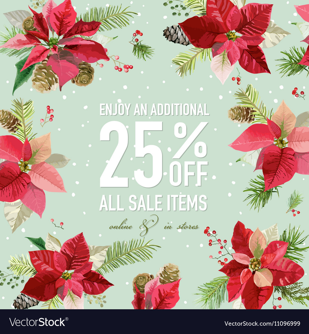 Christmas sale poster  with winter poinsettia vector