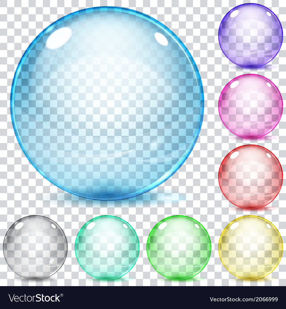 Set of multicolored transparent glass spheres vector