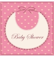 Baby shower with bib pink vintage vector image