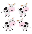 four cows on a white background vector image