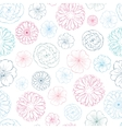Pink Blue Lineart Flowers Heads Seamless vector image