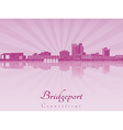 Bridgeport skyline in purple radiant orchid vector image