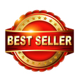 Best seller red label with ribbons vector image