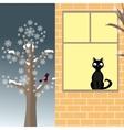 Cat and bird in winter vector image