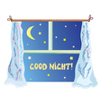 Good nignt with cute window stars vector image