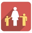 Mother And Children Flat Rounded Square Icon with vector image