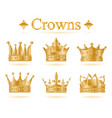 set of gold king crown vector image