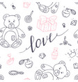 valentines day outline seamless pattern vector image