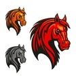 Horse stallion head and mane shiled icons vector image