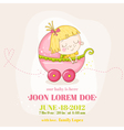 Cute Baby Girl in a Carriage - Baby Shower vector image vector image