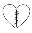monochrome contour of heart with health symbol vector image