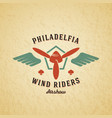 wind riders airplane retro label sign or vector image
