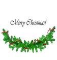 Christmas border with pine and red ribbon vector image vector image