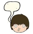 cartoon curious boy with speech bubble vector image