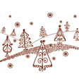 christmas tree sketches vector image vector image