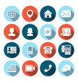 Contact Icons with Long Shadows vector image