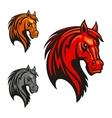 Horse stallion head and mane shiled icons vector image