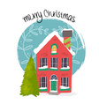 Merry Christmas house art with holiday decoration vector image