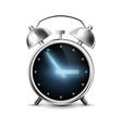 Old metal alarm clock with digital display vector image