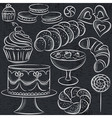 set of different sweetmeats on blackboard vector image