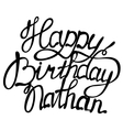 Happy birthday Nathan name lettering vector image