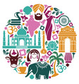 icons of india in the form of a circle vector image