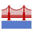 red bridge icon over river vector image