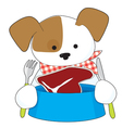 Puppy Eating Steak vector image vector image