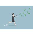 Businesswoman chasing falling dollar bills vector image