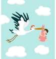 Stork carrying a cute baby girl Newborn baby vector image