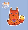 baby fox in lotus meditation cute decorative vector image