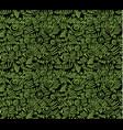 Ecology doodles seamless pattern black background vector image