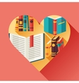 Education background with books in flat design vector image
