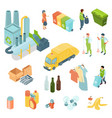 garbage recycling isometric icons set vector image