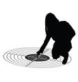 girl show center on target black silhouette vector image