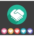 Handshake icon flat web sign symbol logo label vector image