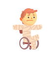 injured boy character in gypsum sitting in a vector image