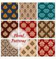Retro floral seamless pattern background set vector image